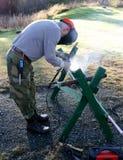 Worker welding steel Royalty Free Stock Photography