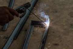 Worker are welding steel Stock Images