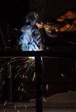 Worker are welding steel Stock Photography