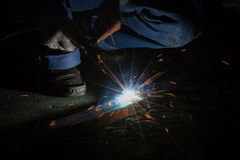 Worker are welding steel Stock Photos
