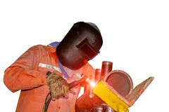 Worker welding Tig. Worker Tig welding piping in factory isolated on white background Royalty Free Stock Photo