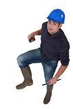 Worker in wellington boots Stock Image