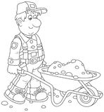Worker with a wheelbarrow. Funny smiling workman carrying sand in a barrow, a black and white vector illustration in cartoon style for a coloring book Stock Image