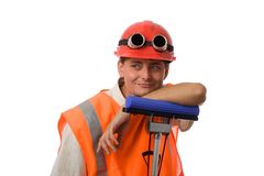 Worker on white background stock photo