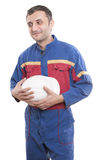 Worker with a white helmet Royalty Free Stock Image