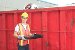 Worker who recycling thing on recycle center Royalty Free Stock Photos