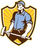 Worker Wielding Sledgehammer Crest Retro Stock Image