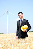 Worker on wind farm Royalty Free Stock Photo