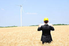 Worker on wind farm Stock Images