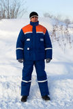 Worker in the winter suit consisting Stock Photos