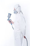 Worker With Airbrush Gun Stock Photography