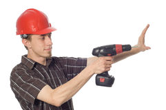 Free Worker With Drill Royalty Free Stock Photos - 5353058
