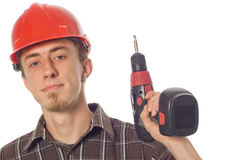 Worker With Drill Royalty Free Stock Photos