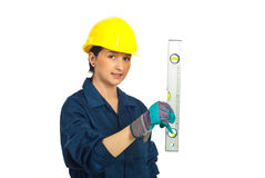 Worker woman with bubble line Royalty Free Stock Images