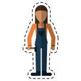 Worker woman carpentry hammer helmet-dot line Stock Photos