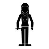 Worker woman carpentry hammer helmet pictogram Royalty Free Stock Image