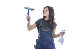 Worker woman cleaning of glasses. Royalty Free Stock Images