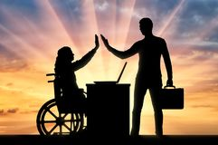 Concept of employment of persons with disabilities. Worker woman a disabled person in a wheelchair and the employer. The concept of employment of persons with stock images