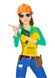 Worker woman with drill Stock Photos