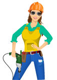 Worker woman with drill Royalty Free Stock Image