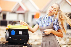 Worker woman with equipment Royalty Free Stock Photo