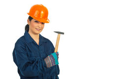 Worker woman with hammer Royalty Free Stock Images