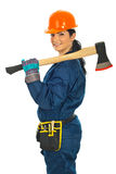Worker woman holding axe Stock Photography