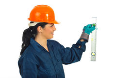 Worker woman holding bubble line Stock Image