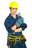 Worker woman holding pincers Royalty Free Stock Photography