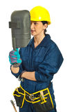 Worker woman holding welding mask Royalty Free Stock Photography