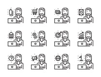 Worker woman with laptop outline icon set. Creative work and soc Stock Photo