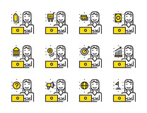 Worker woman with laptop outline icon set. Royalty Free Stock Photo