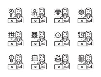 Worker woman with laptop outline icon set. Time and management concept. Royalty Free Stock Photography