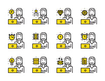 Worker woman with laptop outline icon set. Stock Images