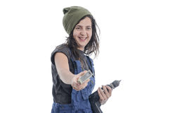 Worker woman with overalls and drill. Royalty Free Stock Photography