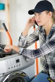 Worker woman on phone stock photos