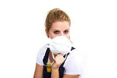 Worker woman with respiratory protection Stock Photography