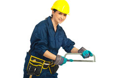 Worker woman with saw Stock Image