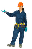 Worker woman welcoming Royalty Free Stock Photo