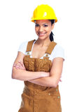 Worker woman. Young smiling Worker woman. Isolated over white background Royalty Free Stock Photography