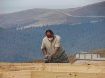 Worker wood finishing royalty free stock image