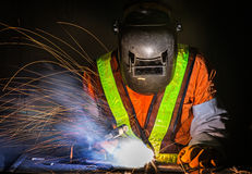 Worker work hard with welding Stock Images