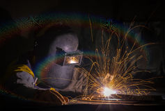 Worker work hard with welding process Royalty Free Stock Images