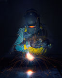 Worker work hard with welding process Royalty Free Stock Photos