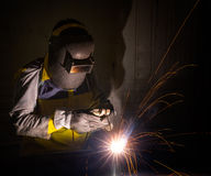 Worker work hard with welding process Royalty Free Stock Photo