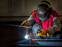 Worker work hard with welding process Stock Photography