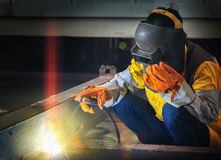 Worker work hard with welding process Stock Photos