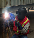 Worker work hard with welding process Stock Photo