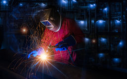 Worker work hard with welding process Royalty Free Stock Photography