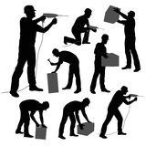 Worker. S silhouettes collection isolated on white background Stock Photos